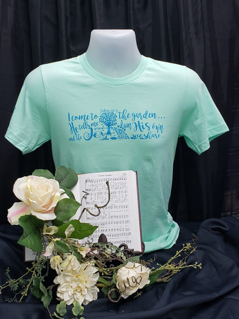 In the Garden Apparel  Christian t shirt hymn words from  In the garden