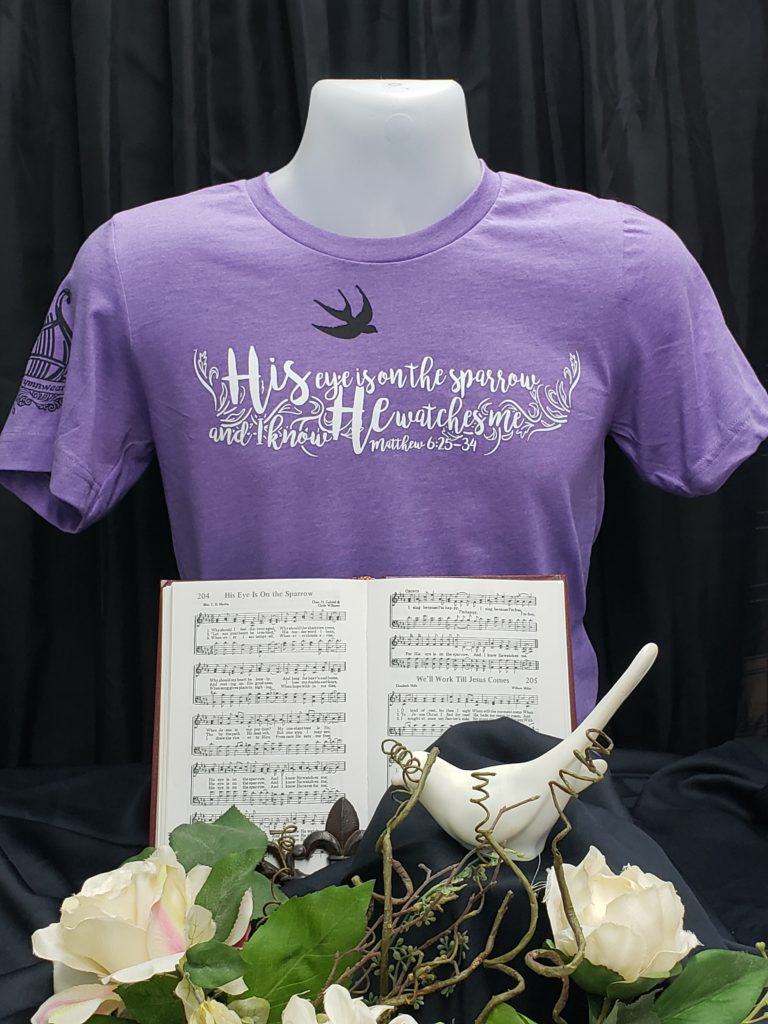 His eye is on the Sparrow and I know He watches me Apparel Christian t shirt words from hymn