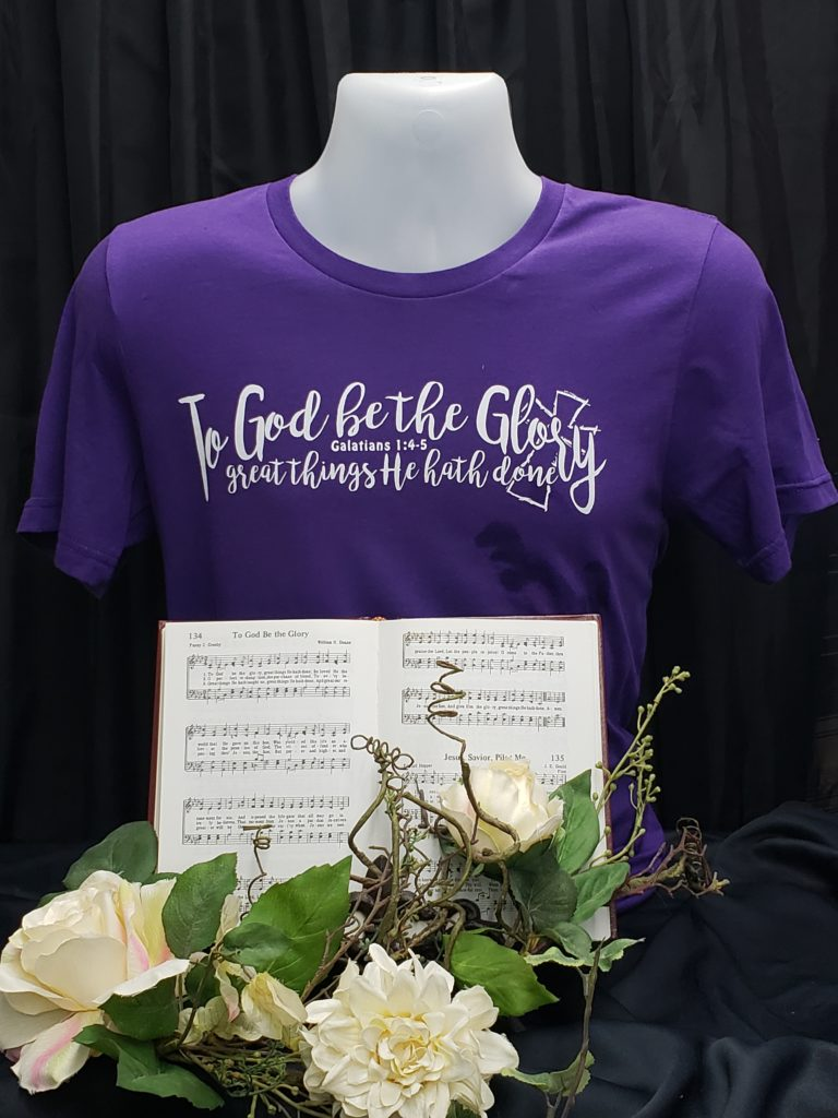 To God be the Glory great things He hath done  Christian t shirt  from hymn