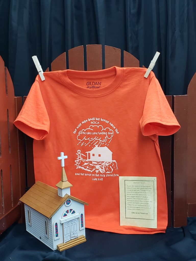 The Wise Man built his house upon the rock kids T shirt Sunday School hymn the wise built his house upon the rock and the wise man's house stood firm